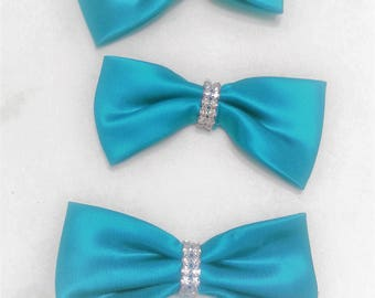 Vintage Rhinestone and Satin Bows Set of Three Embellishment Sewing Destash