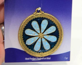 75% OFF CLEARANCE SALE Blue Moon Pewter 47mm, gold toned, blue flower pendant