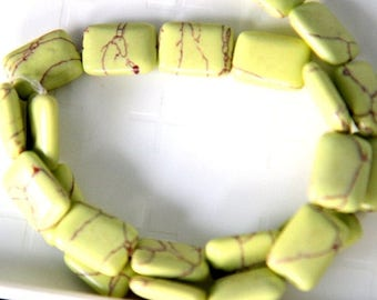 "75% OFF CLEARANCE SALE Imitation Lime Green Rectangular Turquoise Beads, 18x13mm, 15"" strand"