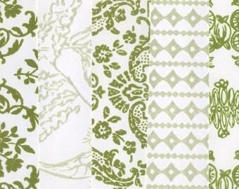 Vintage Flocked Wallpaper - Olive Green Assortment