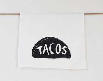NEW Taco Tuesday Tea Towel, christmas gift for mom - minimal home decor - black white - teacher gift - funny dish towel - gourmet women