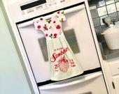 Strawberry Kitchen Towel Dress, Berry Hanging Dish Towel, Tea Towel, White, Red & Green Dishtowel Dress, Hostess Gift, Kitchen Decor/ Klosti