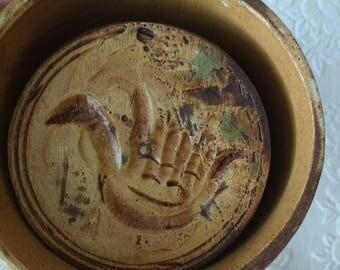 Antique Primitive Wooden Swan Butter Cookie Mold