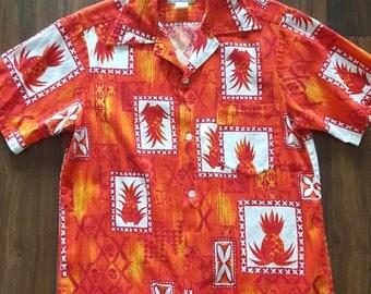 Men's Hawaiian print short sleeve button down shirt