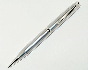 Handmade Lathe Turned Aluminum Ballpoint Pen Cross Style silver Chrome Trim Accents