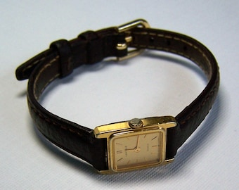Vintage ladies Lassale quartz watch by Seiko, ultra-thin with leather band