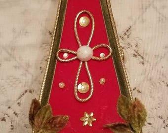 Vintage 70's Velvet Musical Christmas Tree