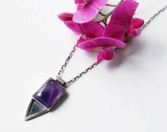 Chevron Amethyst Silver Necklace