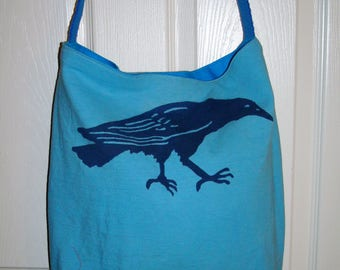 """Check out this great Up cycled Blue Crow Tote Bag with a pocket on the inside. Go to the Beach, Mall, Flea Market, Spa!   18x16x4  20"""" strap"""