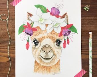 Alpaca Art. Watercolor Alpaca. Llama Painting. Boho Nursery. Animal Nursery Art. 8 x 10 Print. Flower Crown. Childrens Decor. Gift Under 20