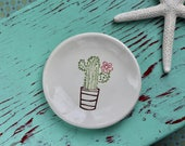 Cactus on Small Round Ring Dish, Trinket Dish with Flowering Cactus, Jewelry Dish with Cactus and Flowers