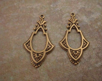 4 brass ox art Nouveau open cut out hoop ornamental  charms 36mm