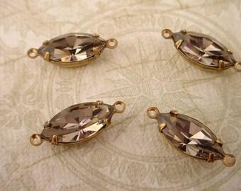 4 Vintage Glass Black Diamond Navette Connector Charms 15x7 brass ox set Swarovski