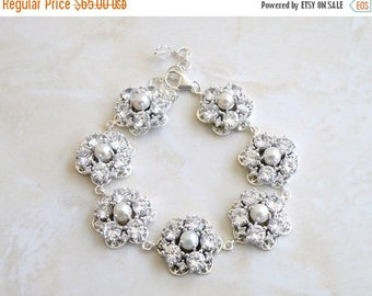 Summer Sale Wedding Jewelry Bridal Bracelet CZ Pearl Silver Bracelet GB2