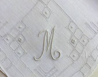 Vintage White Hanky with a White Initial M - Hankie Handkerchief