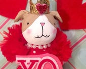 Valentine ornament valentine doll english bulldog valentine queen of hearts pink and red XO token of love vintage inspired anthropomorphic