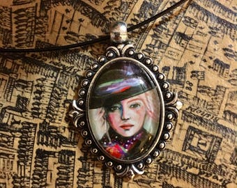 Emma In a Top Hat - Art Necklace