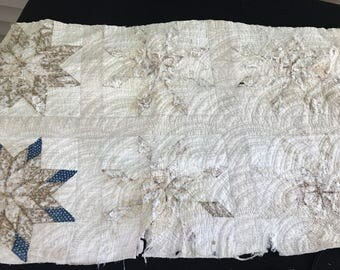 Vintage Well Loved Early Fabric Bursting Star Cutter Quilt Piece