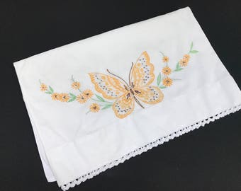 Vintage Single Orphaned White Cotton Blend Pillowcase with Yellow Hand Embroidery Butterflies