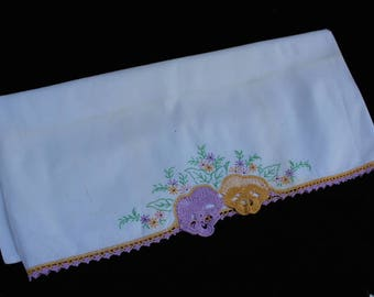 Vintage Single Orphaned Hand Embroidery and Crochet Pansies Pillowcase