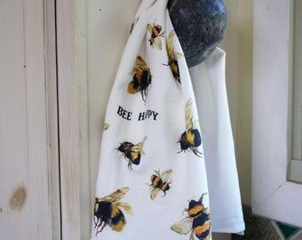 Bee Flour Sack Tea Towel  Bee Kitchen Decor  Bee Lovers Gift  Bee Watercolor