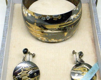 Vintage Sterling Cuff Bracelet AND Earrings - Oxidized Sterling - Beautiful Scene And Craftsmanship - Original Box