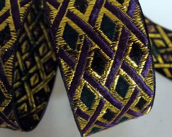 3 yards  PHINEAS Jacquard trim with Purple and  metallic gold cross hatching and Green and Black diamonds. 1 1/2 inch wide. 2060-A