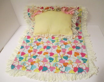 """Hand-crafted Blanket & Pillow Set for 18"""" American Girl Type Dolls - Hearts"""
