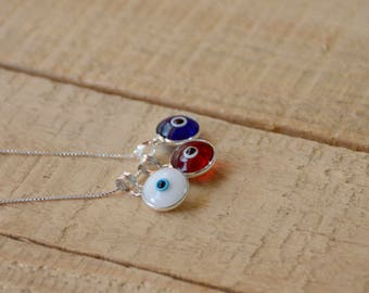 Sterling Silver Blue, White & Red Evil Eye Necklace with 3 Evil Eyes Protection Charms on 925 Sterling Silver 19 Inch Box Chain
