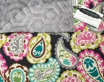 Paisley Minky Blanket-Baby Girl Blanket-Gray Paisley Blanket-Crib Blanket-Carseat Blanket-Stroller Blanket-Navy Pink Blanket-