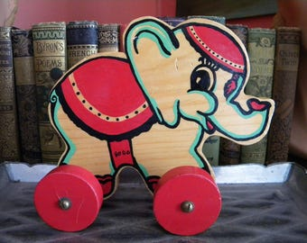 Vintage Wooden Elephant on Wheels Bobo the Circus Elephant Hand Painted