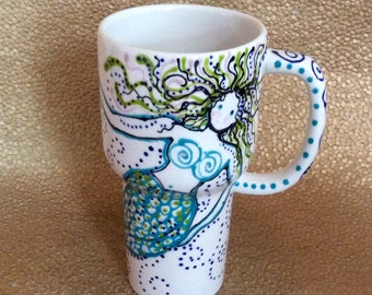 Mermaid Glazed Ceramic Travel Mug with Sliding Closure Lid