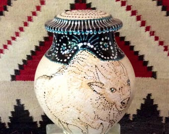Custom White Buffalo Calf Cremation Urn White Mica Clay Taos, New Mexico