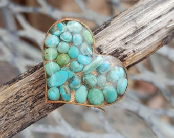 Turquoise HEART Ring - Blue Green Copper Ring - Adjustable RING - Southwestern - Cowgirl Ring by Heart of a Cowgirl