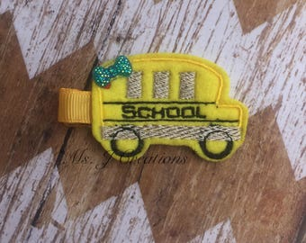 School Bus Feltie Hair Clippie - Back To School Girls Cute Photo Prop- READY TO SHIP