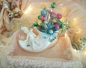winking pixie planter, vintage lefton, elf boot, flower appliques,  whimsical christmas decor, lefton 50478, gnome, sprite, fairy faerie
