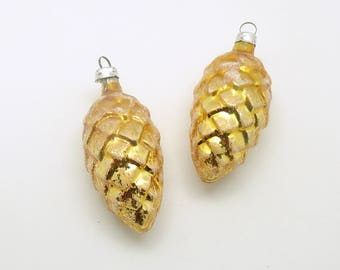 Vintage Christmas Ornaments Gold Glass Pine Cones Christmas Decoration West Germany