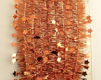 Orange Tinsel Garland Stars Made in Germany