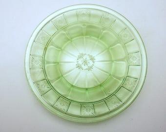 Vintage Green Doric Plate Depression Glass Dessert Plate Sherbert