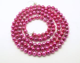 Vintage Christmas Decoration Pink Glass Bead Garland Large Beads Pink Glass Garland