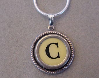 Typewriter key jewelry Necklace CREAM  LETTER C - Typewriter Key Necklace - Initial C serif font  Initial Necklace