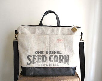 Grain sack, leather, canvas tote bag, carryall - eco vintage fabric