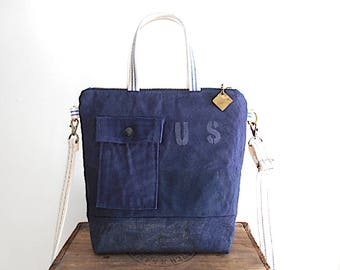 Vtg Air Force military & waxed canvas crossbody bag, small tote - eco vintage fabrics