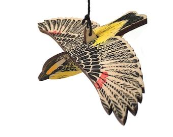 Striated Pardalote Mobile, Hand Printed Wooden Lino Printed Hanging Bird, Australian Native Bird,