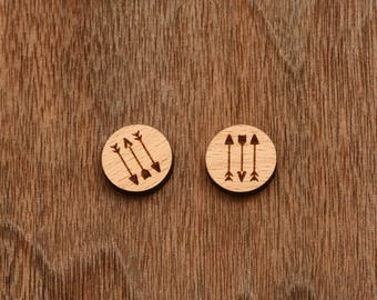 8 pcs Arrows Wood Charm, Carved, Engraved, Earring Supplies, Cabochons (WC 174)
