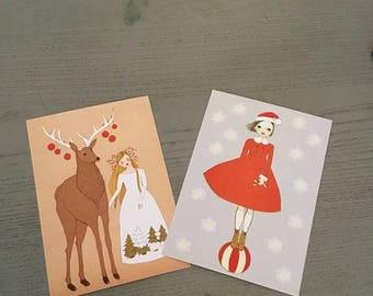 Sale Christmas cards, Christmas Girls, set of 12 postcards,