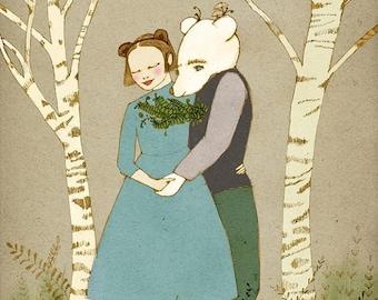 Sale romantic Bear and Girl holding hands print of original illustration
