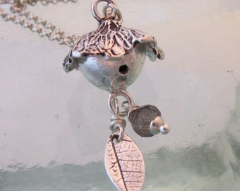 Handcrafted Silver Birdhouse Necklace