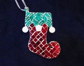 Christmas Stocking Ornament Handmade from Mirrored Glass is Red Green and White One of a Kind