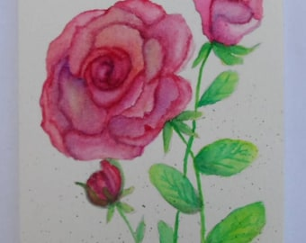 Watercolor Rose Card Watercolor Roses Watercolor Flowers Greeting Cards Hand Painted Cards Watercolors
